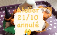 L'atelier Décoration de cupcakes d'Halloween est annulé